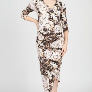 Nursing Dress Rose Print Envelope Hem Stretchy Sm
